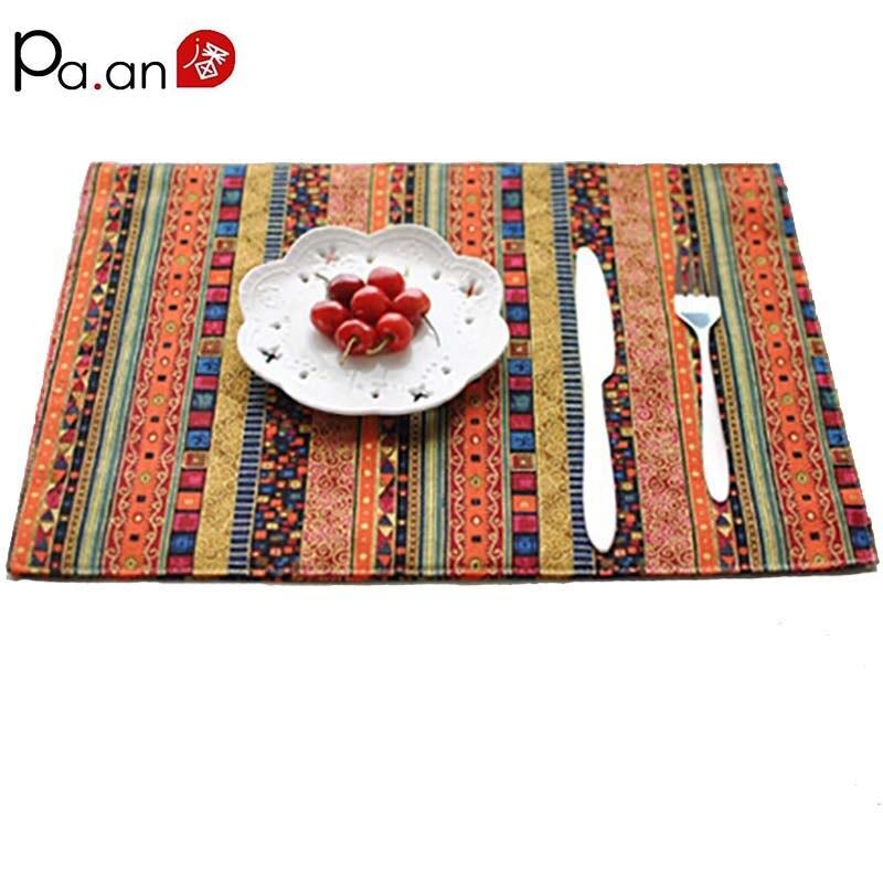 Китайский Хлопок, льняные коврики для стола в фольклорном стиле, 30x40 см, Красные Полосатые шапки с принтом, скатерти, коврики для украшения дома, высокое качество
