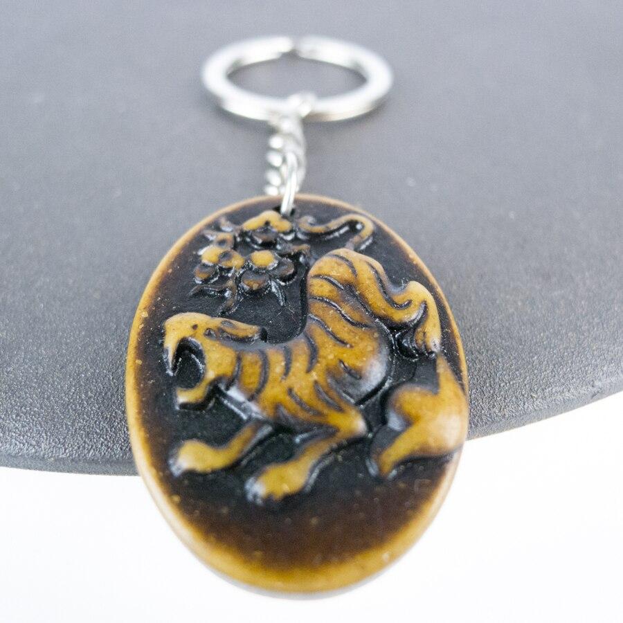 Llavero del zodiaco chino Tiger The 12, limitación de material de hueso de yak, Arte con huesos, llaveros Vintage # GZ303