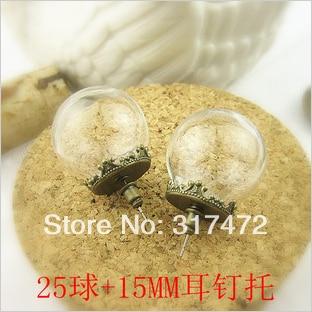 wholesale!50set/lot 25*15mm Glass  vial globe & antique bronze stud earring DIY glass vial pendant stud earrings