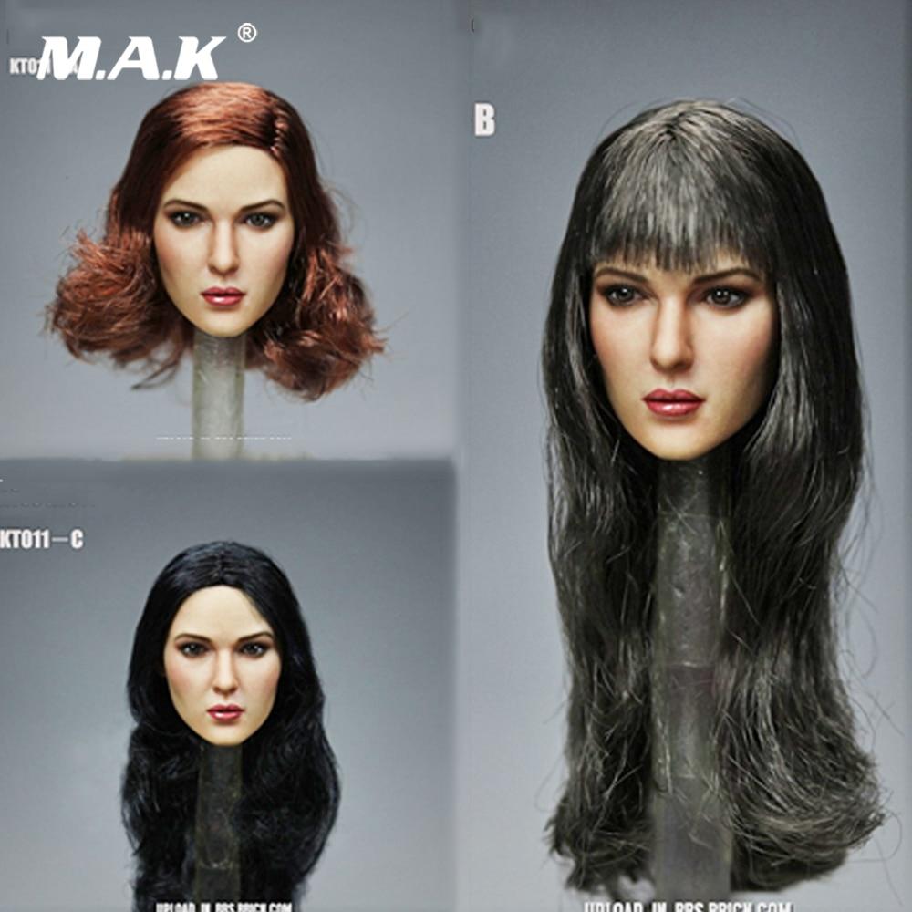 Escala 1/6 pelo negro europeo y americano femenino talla de cabeza esculpir 3 estilos modelo para cuerpo de figura de acción de 12