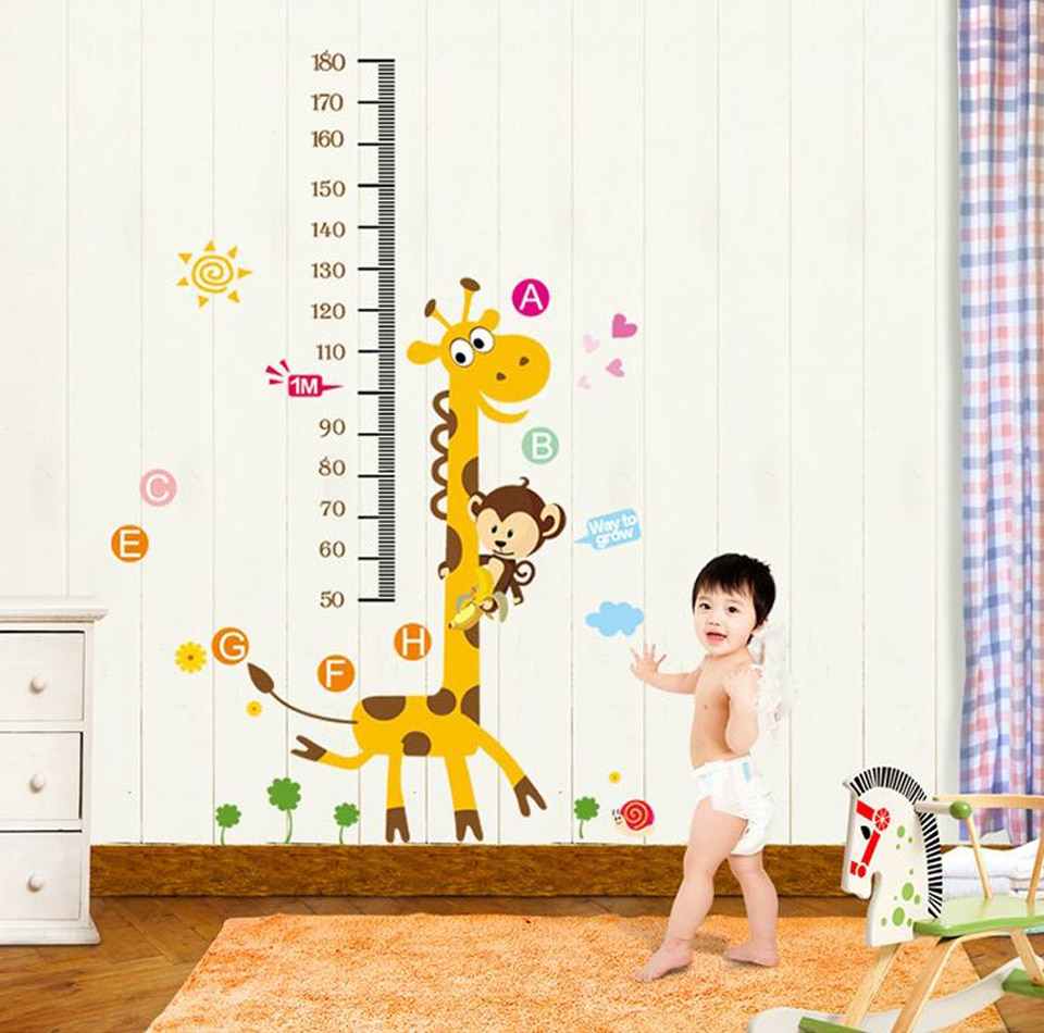 Medição de altura gráfico crescimento árvore bonito macaco e girafa decalque da parede decoração da parede adesivos casca e vara papel de parede removível