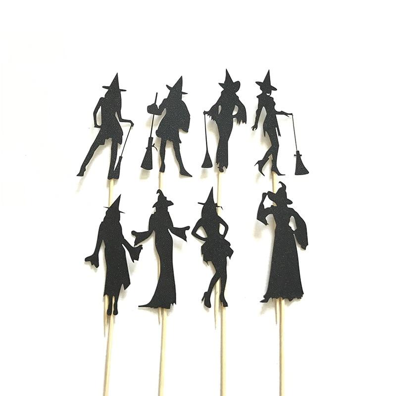 8 Uds. Adornos para cupcakes de Brujas, vestidos negros, posturas para espectáculos de moda, Tarjeta para clavar en pastel para Halloween, decoración de tartas de terror