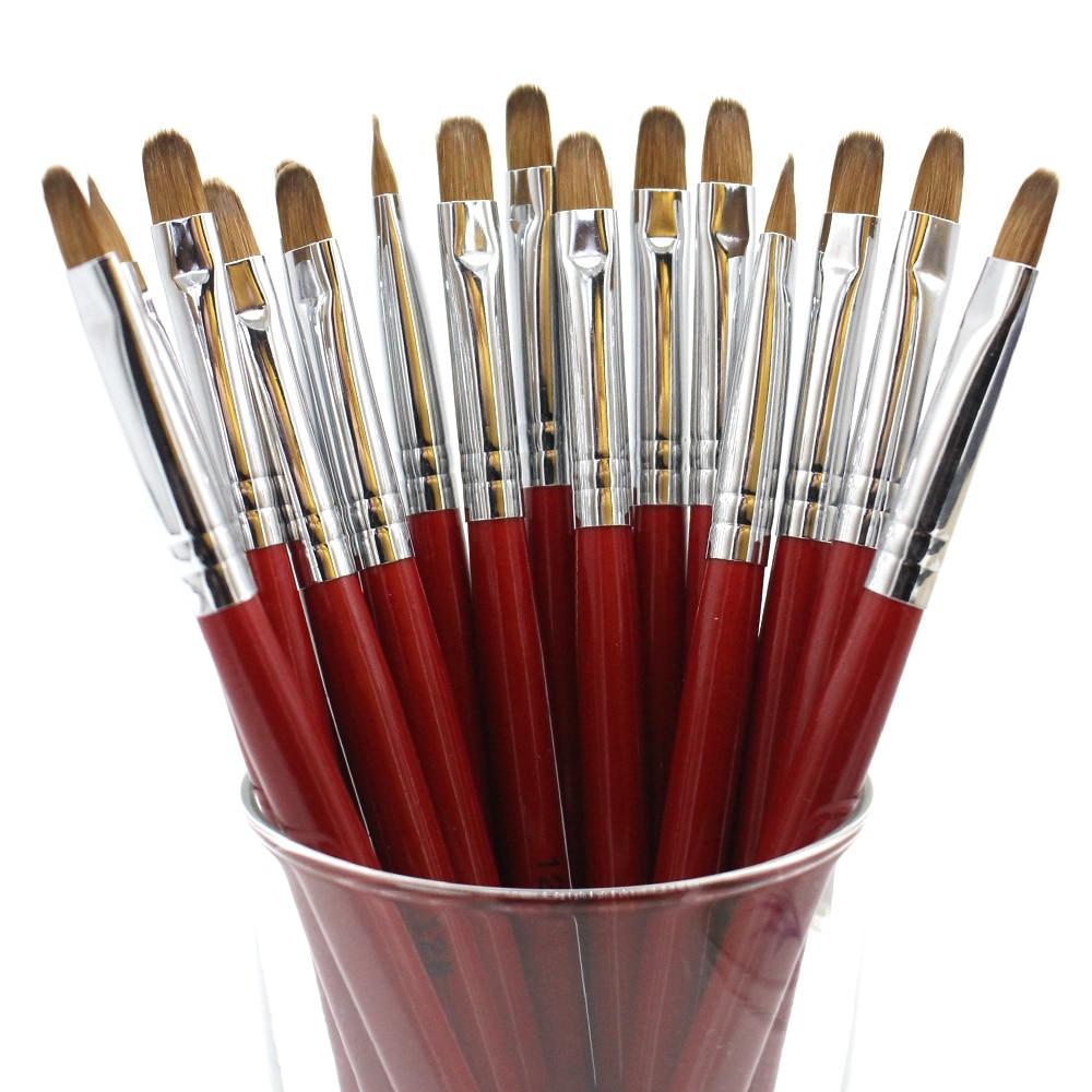 Eval Double Heads Kolinsky Sable Nail Brush 2 Way Acrylic Nail Art Brush Builder Set Kit DIY Nail Tools Gel acrylic Brush