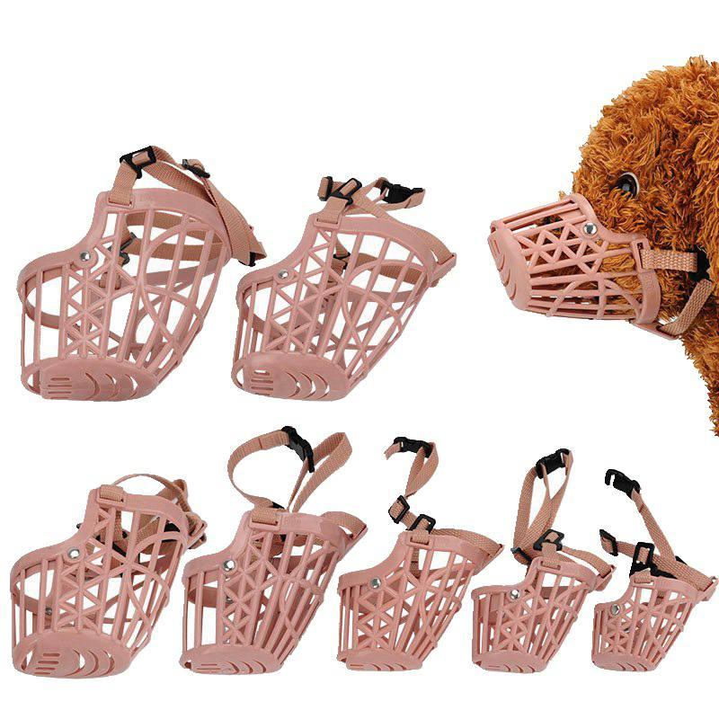 Bozal de plástico para perros y mascotas con 7 tamaños de ajuste, cesta fuerte para bozal para perros, diseño de correas antimordidas, mascarilla para perros antiladridos, bozales para morder W1