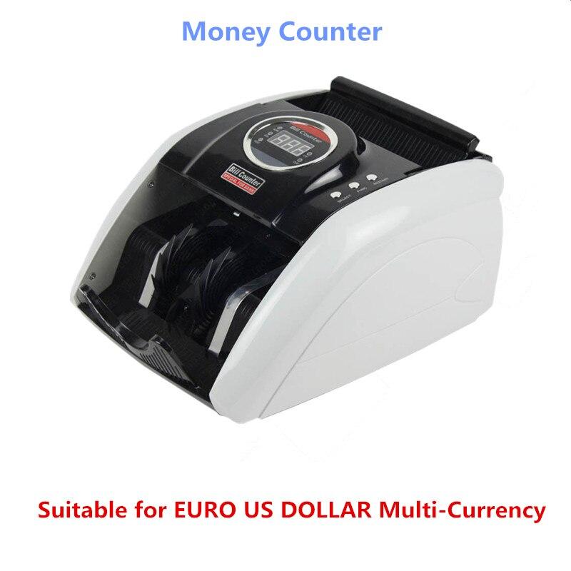 ماكينة عد النقود 110 فولت/220 فولت مناسبة لليورو الدولار الأمريكي متعدد العملات متوافق مع مكتب فوترة ماكينة عد النقود 5200UV