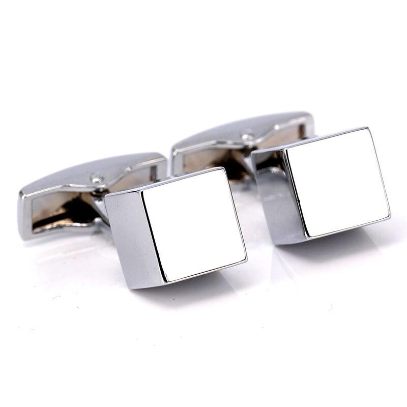 Mms qualidade superior titânio aço forma cúbica abotoaduras botões de punho simples prata manguito links
