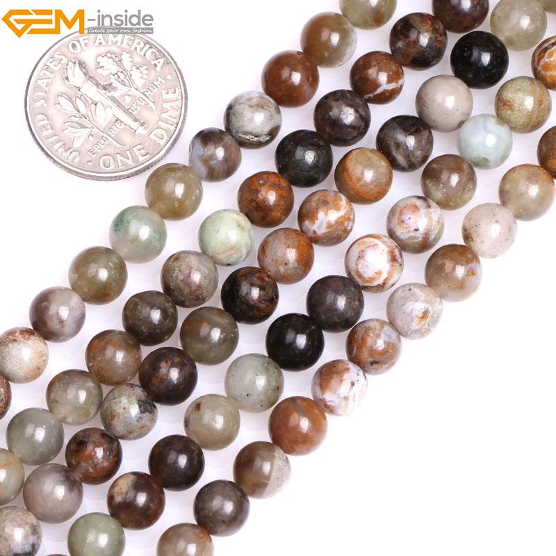 """6mm 8 mmRound Natural marrón océano Jaspers cuentas sueltas para la fabricación de joyas hebra 15 """"pulsera DIY gema- dentro de"""