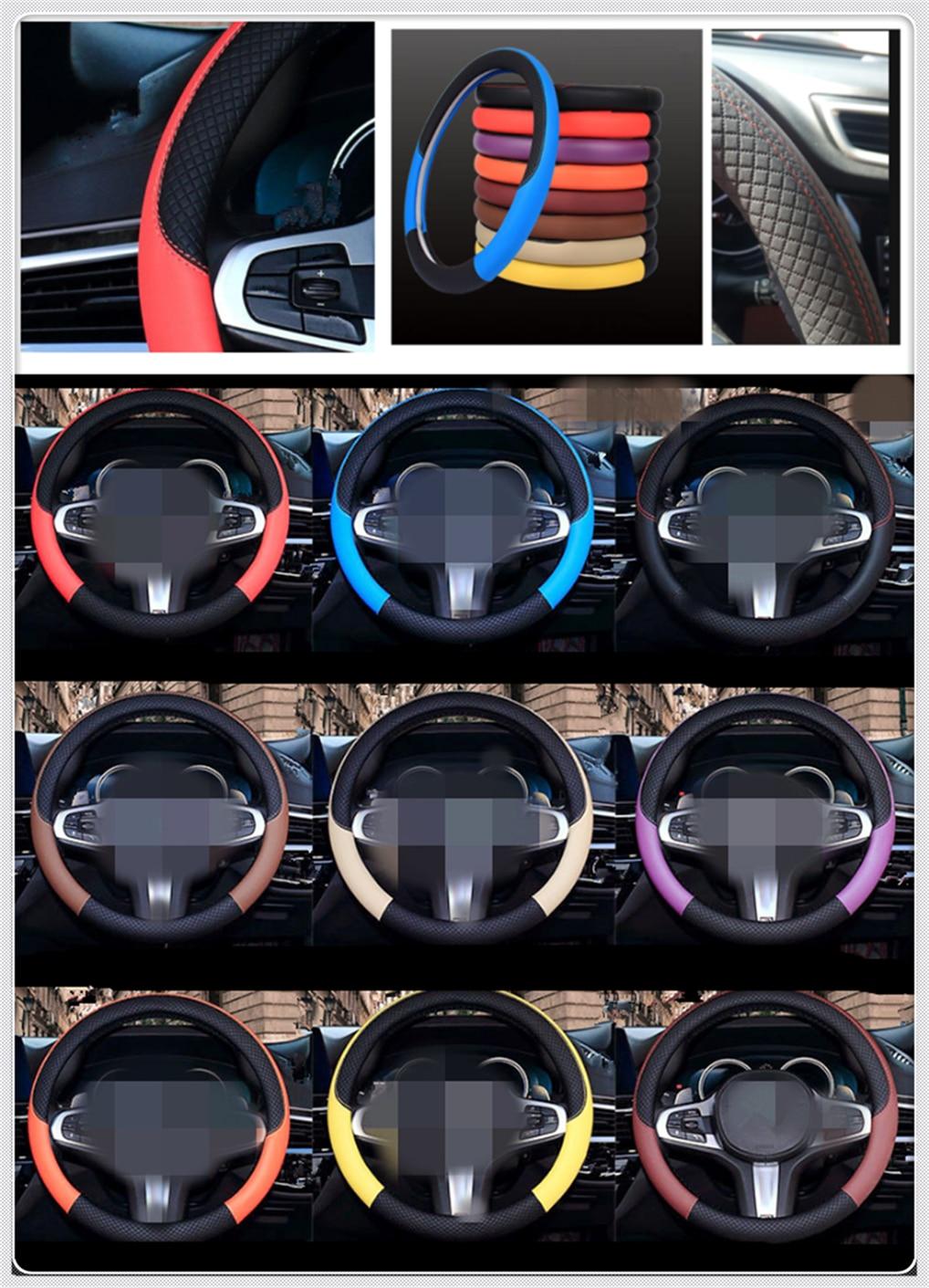 Auto partes volante cubierta 38 cm o 15 pulgadas cuero tejido para Kia KV7 POP VG Soulster No3 Magentis Borrego