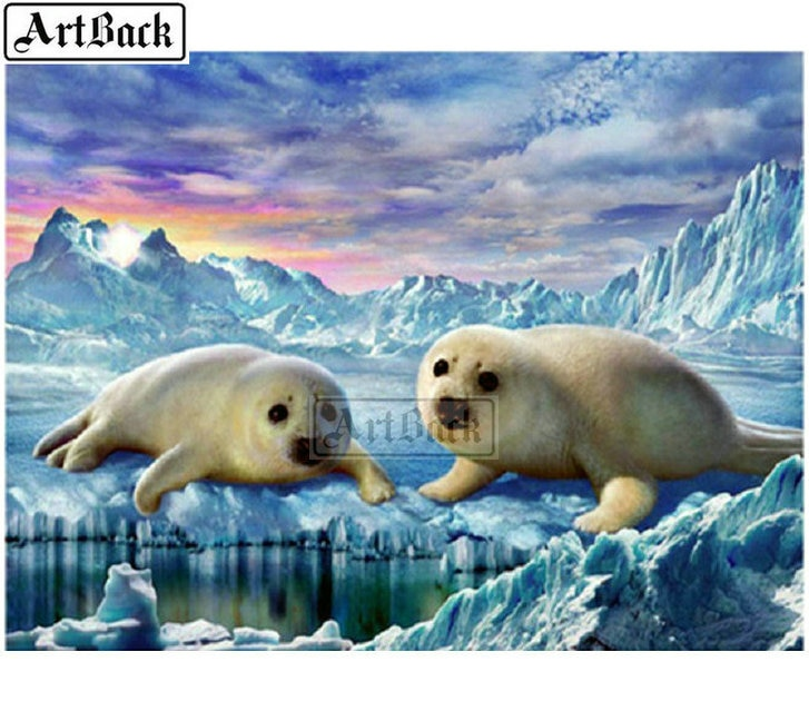 New 5d diy diamond painting seals ice full square / round drill diamond embroidery animal 3D artwork diamond mosaic artwork