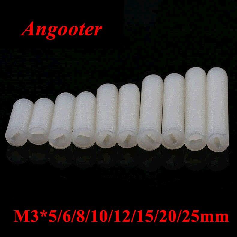 100 Uds M3 Nylon Set ranurado tornillos de plástico cabeza de nylon comida tornillo tornillos M3 * 5/6/8/10/12/15/20/25mm con M3 Nylon tuerca hexagonal