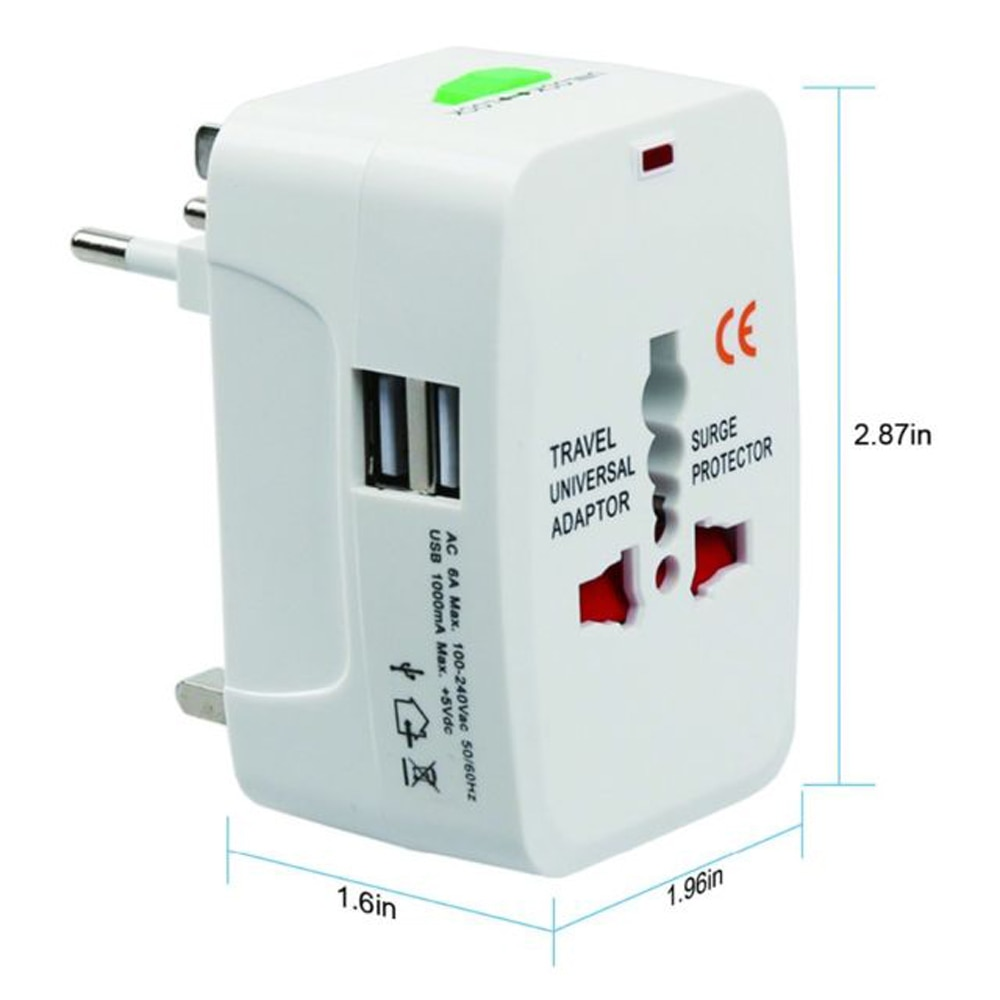 USBO Multifuntion 5V 1A 2USB Универсальный дорожный адаптер, вилка, зарядное устройство переменного тока для Kr AU US UK EU конвертер, переходник, CE, белый, черный