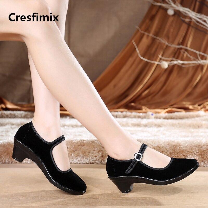Cresfimix zapatos de mujer femmes mode noir chaussures de travail dame mignon rétro confortable chaussures de danse femme boucle sangle sheos a568