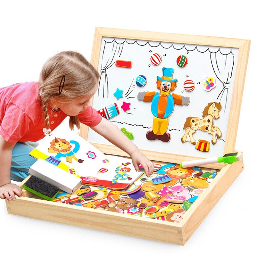 100 + Uds. Juguetes de rompecabezas magnético de madera para niños figura de puzle 3D/animales/vehículo/tablero de dibujo de circo juegos educativos para niños