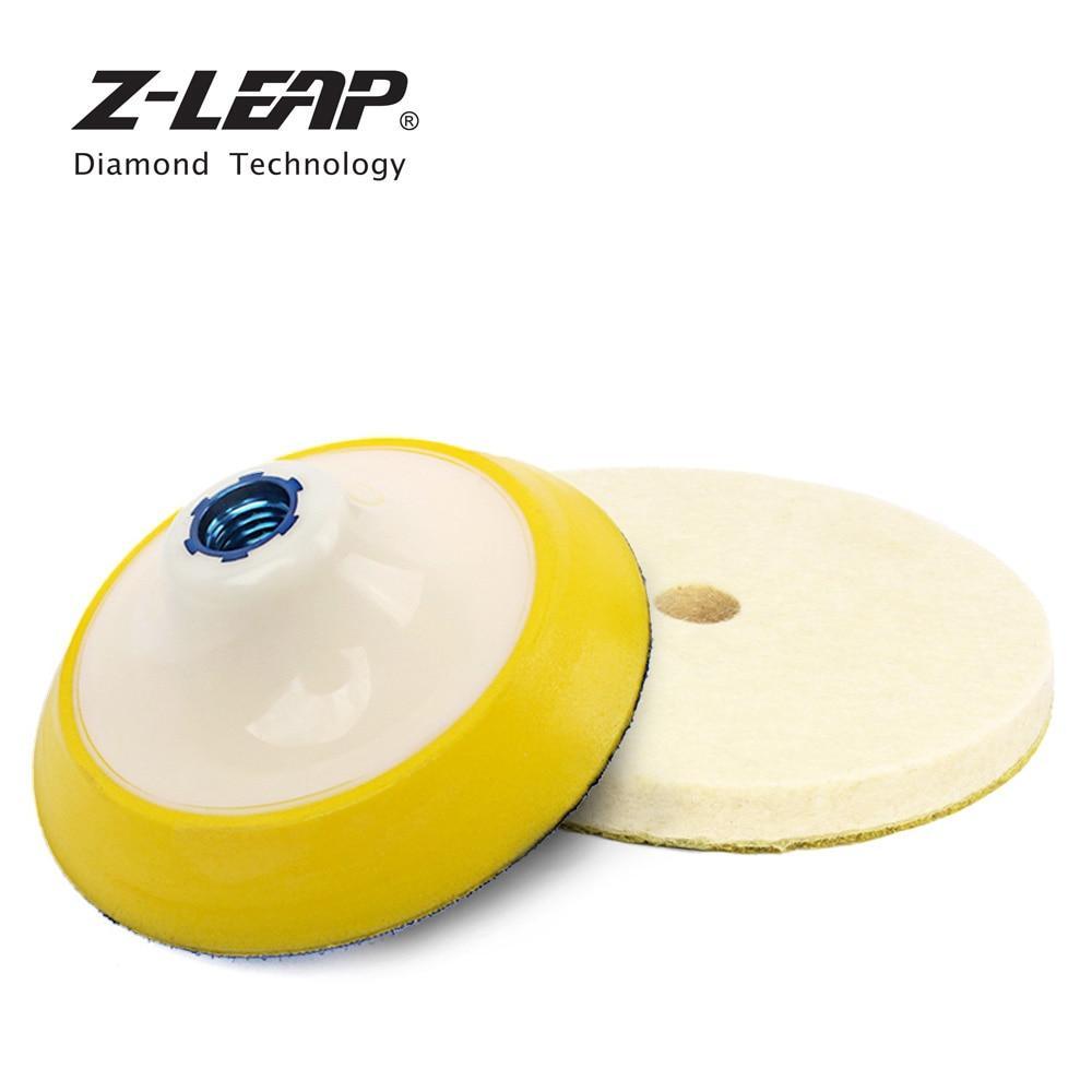 Z-LEAP BUFF Pad Set 5 Inch Wool Pad with Plastic Sponge Bonnet Backing Pad For Angle Grinder Polisher Wool Felting Polishing Pad