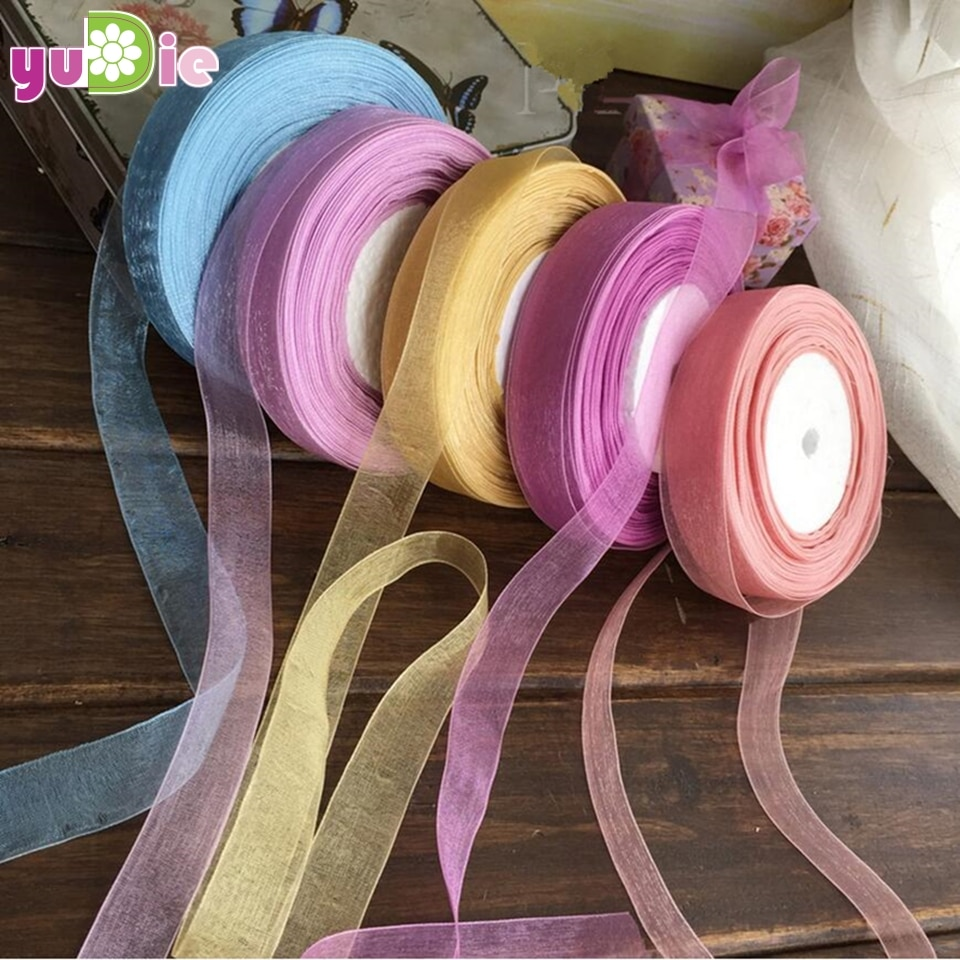 Joli ruban Organza en soie Double Face 50mm   Ruban Transparent, 15mm/rouleaux de 22M, décoration de réception de mariage, artisanat, ceinture demballage cadeau