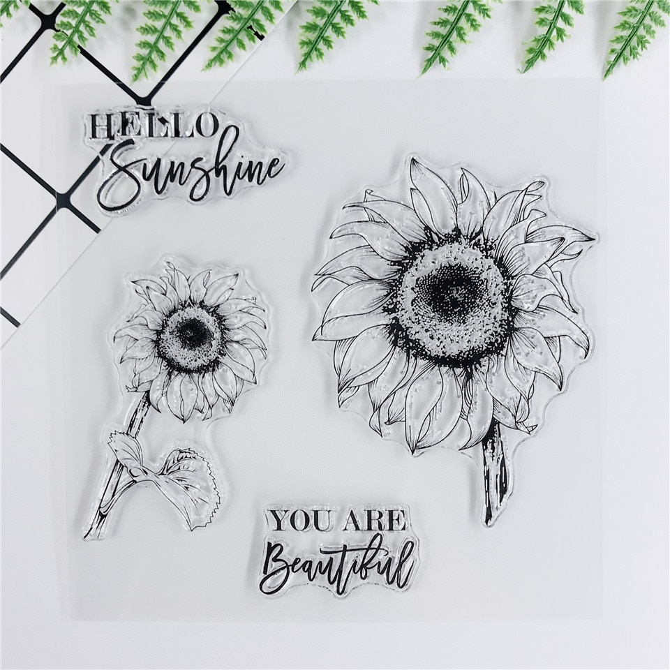 14*14 Plant Sunflower Transparent Clear Stamps Bullet Journal Seal For DIY Scrapbooking Sentiment Stamp Photo Album Card Making