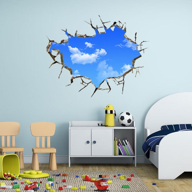 Decoración del hogar cielo para pared azul pegatinas nubes extraíbles niños dormitorio paisaje stikers adhesivo cuadros para la pared del salón