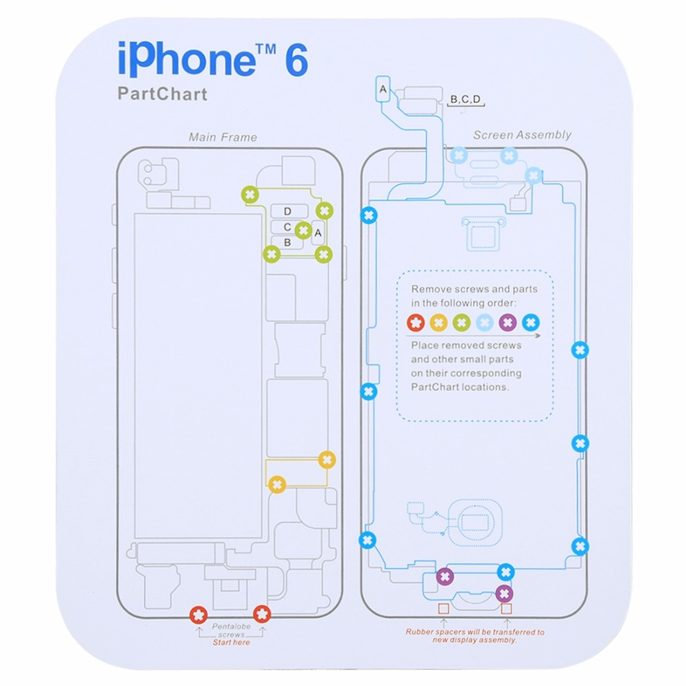 Magnetic Memory Screws Mat For iPhone X & 8 & 8 Plus & 7 & 7 Plus & 6s Plus & 6s & 6 & 6 Plus , Size: 17.8cm x 15.9cm enlarge