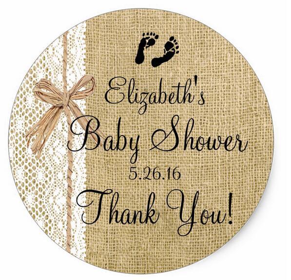 1,5 pulgadas arpillera y encaje imagen Baby Shower-Favor clásico redondo pegatina