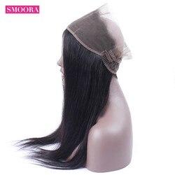 Pré arrancado 360 fechamento frontal do laço com o cabelo do bebê brasileiro em linha reta do cabelo humano parte superior cloutre 360 cor natural não remy smoora