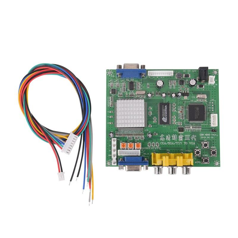 1pc jogo de arcada rgb/cga/ega/yuv para vga hd placa conversor de vídeo hd9800/gbs8200 placa verde quente