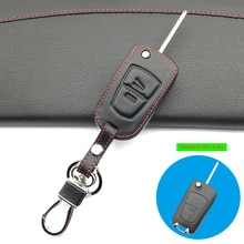 Latest 100% Leather Car Keychain Key Fob Case Cover wallet For Opel Zafira 3 buttons Car Key Protect