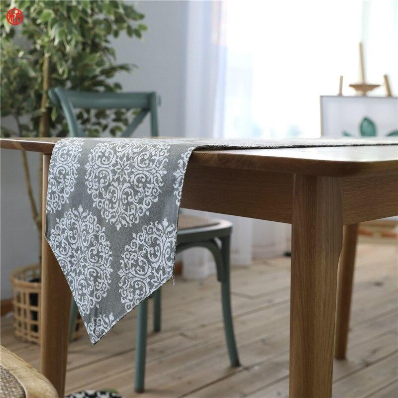 Camino de mesa de flores de Europa de 30x200cm 30x220cm, camino de mesa de mezcla de algodón y lino gris, tela para decoración de hotel y hogar, 30x180cm