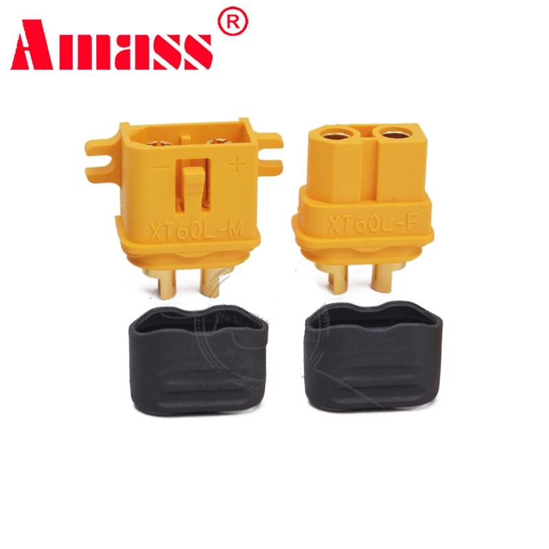 Conector de enchufe de XT60-L con hebilla de montaje de tornillo fijo + cubierta, enchufes adaptadores macho/hembra, modelo Fr RC, placa PCB VS xt60 XT60E-M