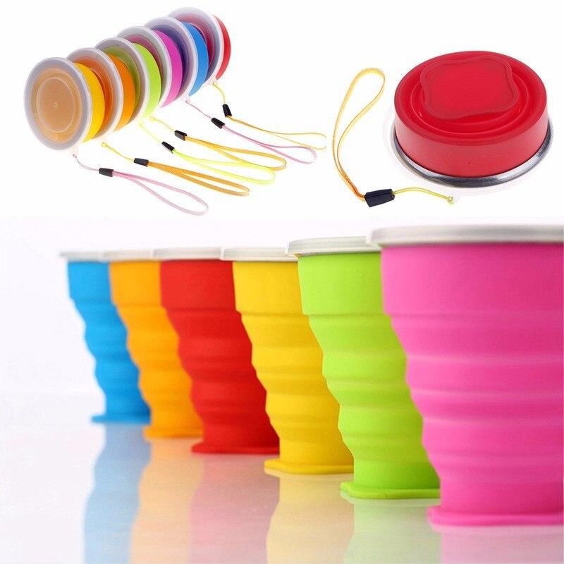 Taza plegable retráctil de silicona de viaje a la moda tazas plegables telescópicas al aire libre tazas de café al aire libre Copa de viaje retráctil