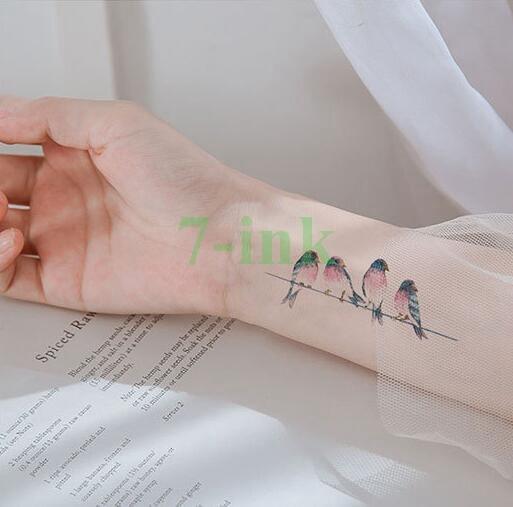 Tatuaje falso o transferencia de agua adorable pájaro panda dinosaurio animal impermeable tatuaje temporario falso prediseñado tatto para mujer hombre