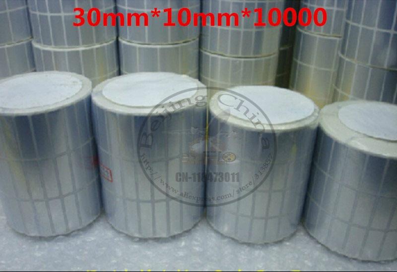 Envío Gratis, pegatinas personalizadas hechas a mano impermeables, 30*10*10000 uds, etiquetas de regalo para mascotas de plata asiática para etiquetas de impresora de código de barras