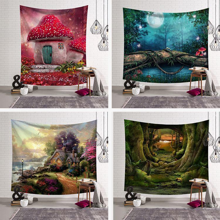Tapiz psicodélico nórdico abstracto para dormitorio, decoración de granja, tapiz colgante de pared, cortinas celestes para dormitorio, shabby chic