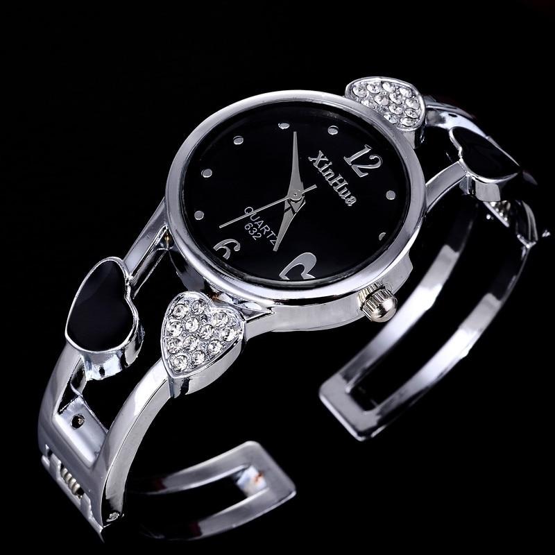 2020 Xinhua Fashion Watches Women Stainless Steel Bracelet Bangle Flower Lover Heart Shape Wristwatc