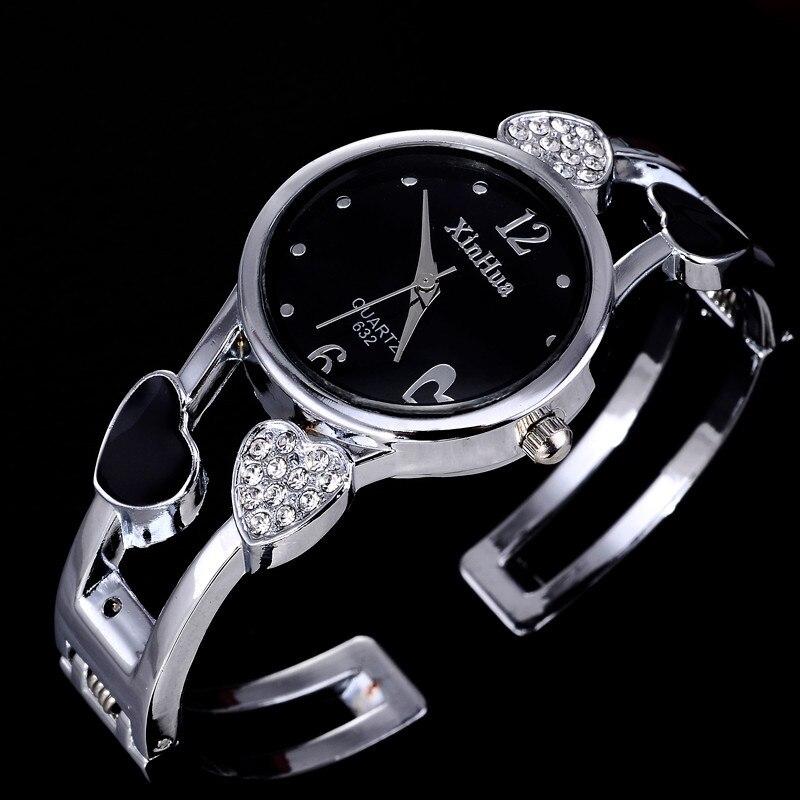 Женские часы Xinhua, браслет из нержавеющей стали с цветком, форма сердца влюбленных, 2019