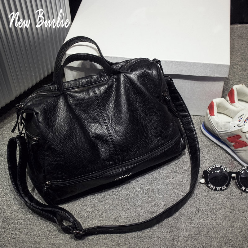 Large Capacity Bags for Women 2020 Shoulder Tote Bag washed PU Motorcycle  Messenger casual handbags Top-handle bags Sac a main