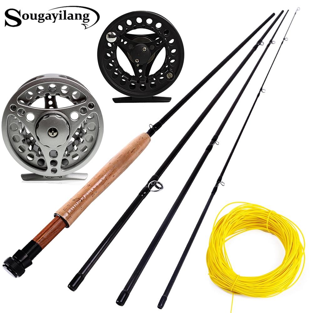 Sougayialng #5/6 набор удочек для ловли нахлыстом 2,7 м, удочка и катушка для нахлыста, комбо с леской для рыбалки, набор рыболовных удочек, рыболовны...