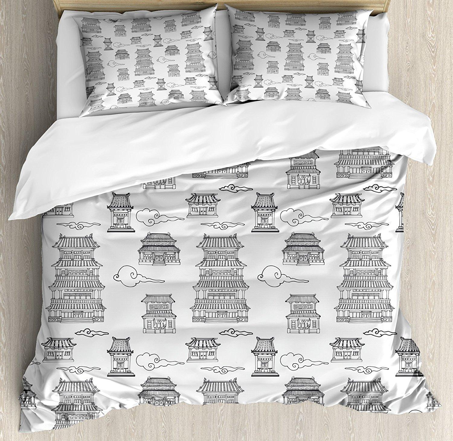 Conjunto de fundas de edredón chinas antiguas imágenes dibujadas a mano de casas de estilo arquitectónico asiático y nubes juego de cama de 4 piezas