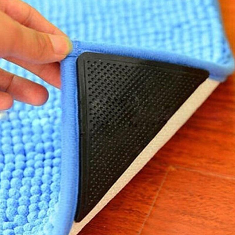 4 par/set antideslizante alfombra estera pinzas de silicona lavable agarre esquinas almohadilla para baño sala de estar cocina herramienta A