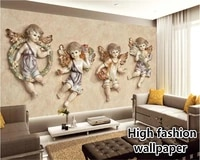 beibehang latest high definition wallpaper hd european stereo small angel tv bedroom living room background papel de parede