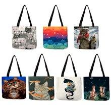 Sac fourre-tout dimpression de peinture à lhuile de chat créatif fait sur commande pour le sac à bandoulière de sacs à main décontractés de dame de femmes pour voyager des sacs à provisions décole