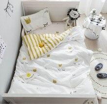Комплект постельного белья из 100% хлопка для кроватки, 3 шт., Комплект постельного белья с изображением животных из мультфильмов, наволочка, простынь, пододеяльник без наполнителя