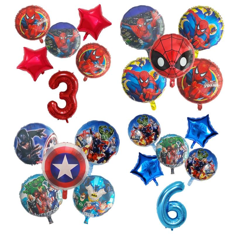 6pcs-marvel-spiderman-palloncini-foil-avengers-numero-palloncino-decorazioni-per-feste-di-compleanno-super-hero-boy-giocattoli-per-bambini-baby-shower-ball