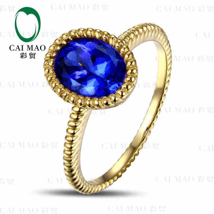 CaiMao 18KT/750 oro amarillo 1,62 if natural ct azul tanzanita AAA ct corte completo diamante anillo de compromiso joyas
