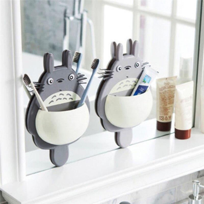 1 pçs escova de dentes suporte montagem na parede bonito totoro otário sucção banheiro organizador família ferramentas acessórios transporte da gota