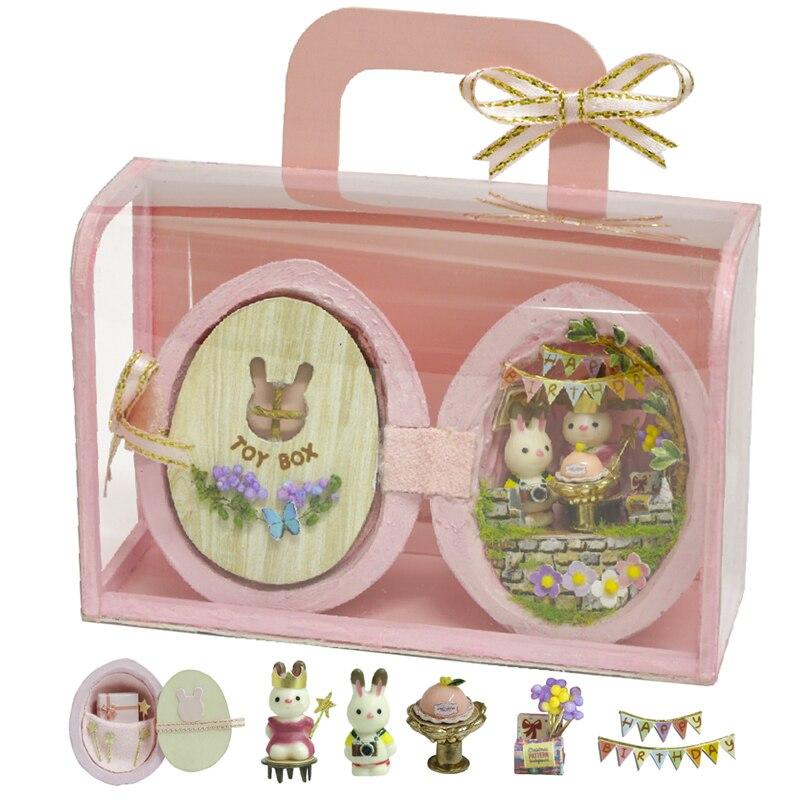 DIY Dollhouse Furniture Miniature Wooden Miniaturas Doll House Box Theatr Toys for Children Birthday Gifts Casa Seed World R1