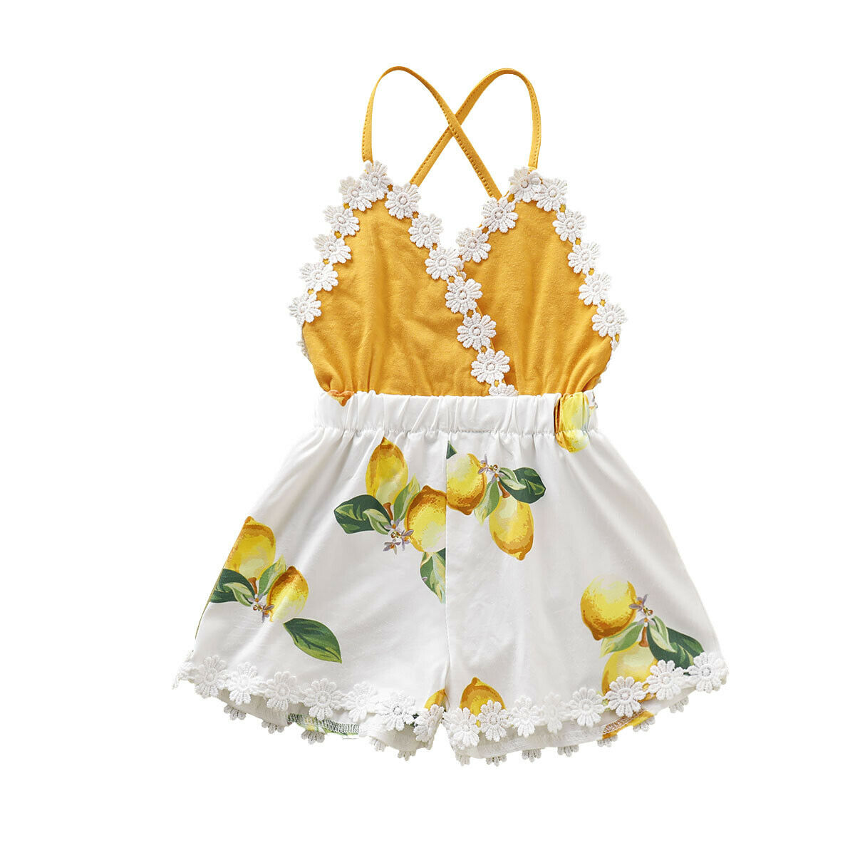 Pudcoco 2019 Stap Pelele de tirantes para bebé niña limón Sunsuit Floral ropa de verano lindos trajes ropa Casual