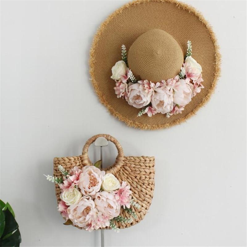 Women's hand-woven bag flower straw bag travel tote bag for women beach handbag women sunscreen hat 2019 new style