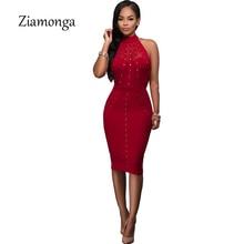 Ziamonga Black Red Sleeveless Studded Rivet Mesh Nail Beaded Sexy Women Dress 2017 Fashion Bodycon Celebrity Bandage Dress S2806