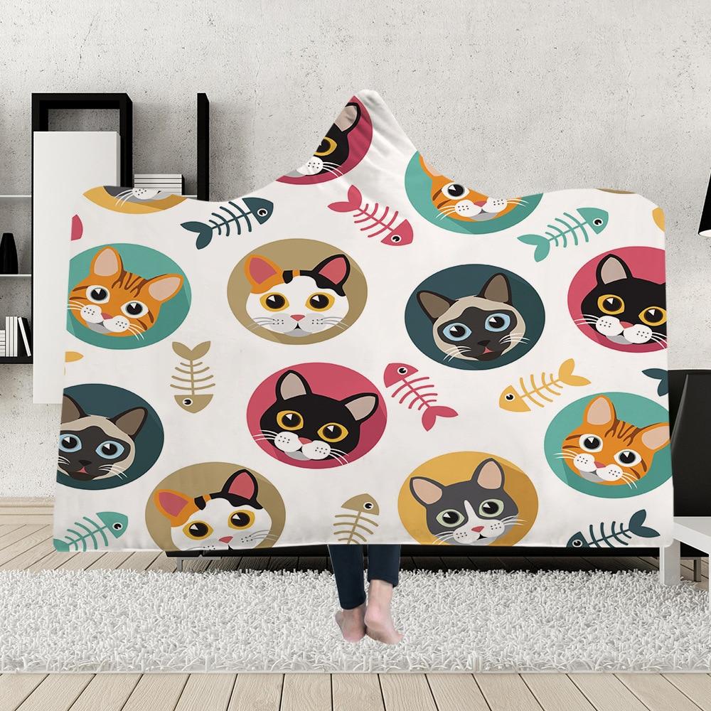 Capa de Manta con capucha, gorro mágico, manta gruesa de felpa de doble capa, impresión Digital 3D, Serie de lindos gatos