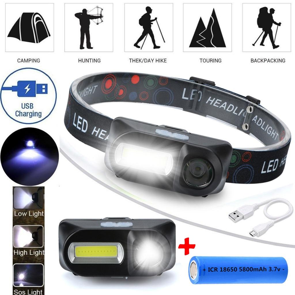 Linterna frontal recargable COB LED de 6 modos linterna con correas linterna ajustable + 18650 listón para actividades al aire libre pesca nocturna